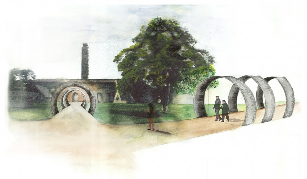 Illustration of park with walkway with circular sculptures over paths. LA 7003 Graduate Landscape Design: Water Studio