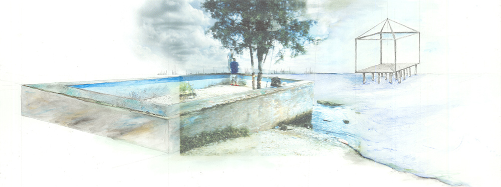 Illustration of coastal site with structures by water. LA 7003 Graduate Landscape Design: Water Studio