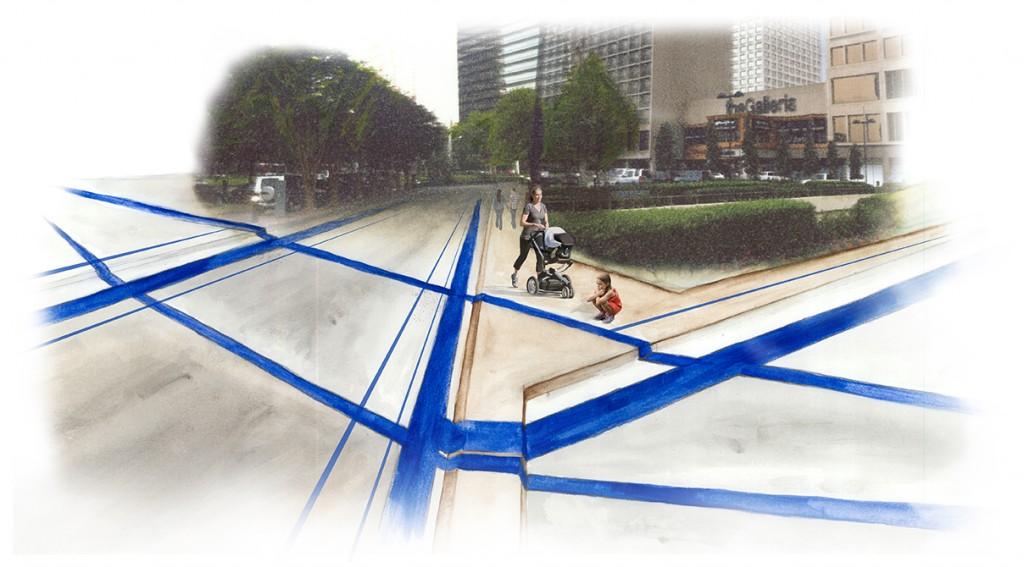 Path through urban area. LA 7003 Graduate Landscape Design: Water Studio