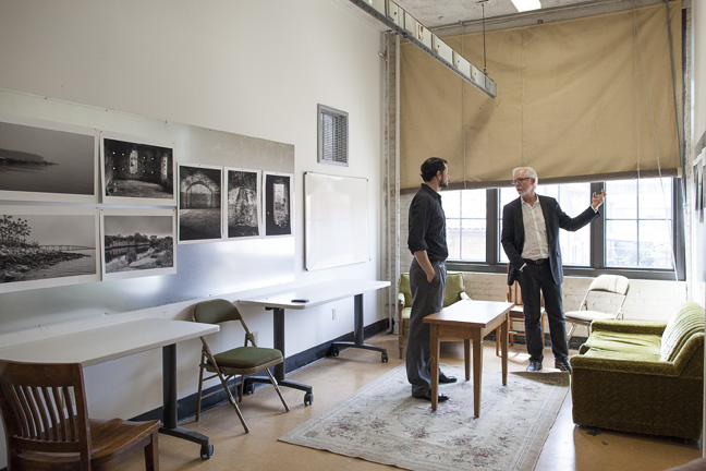 Two men in studio. lsu school of art visiting artists program