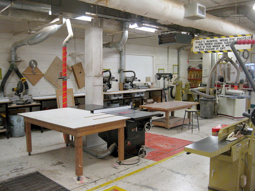Woodshop with tables