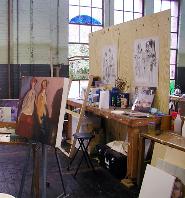 Paintings in studio arts building