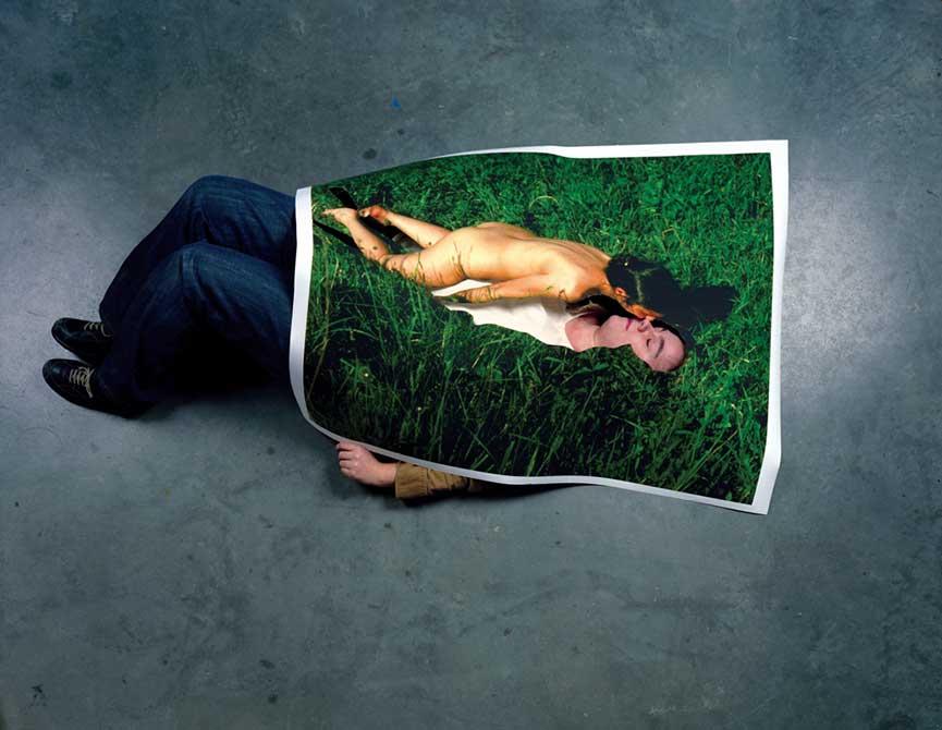 kristine thompson photo print lying on grass