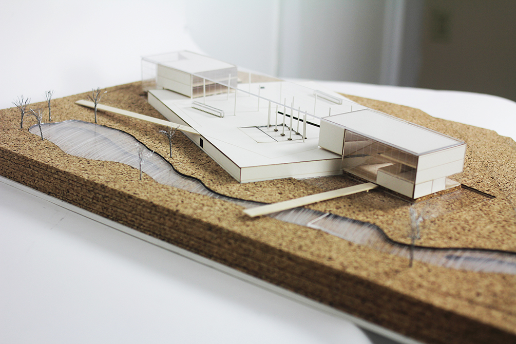 Model with building, river, trees. LA 7003 Graduate Landscape Design: Water Studio