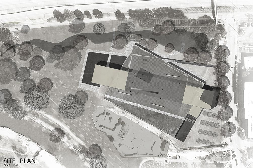 Site plan in black and white. LA 7003 Graduate Landscape Design: Water Studio