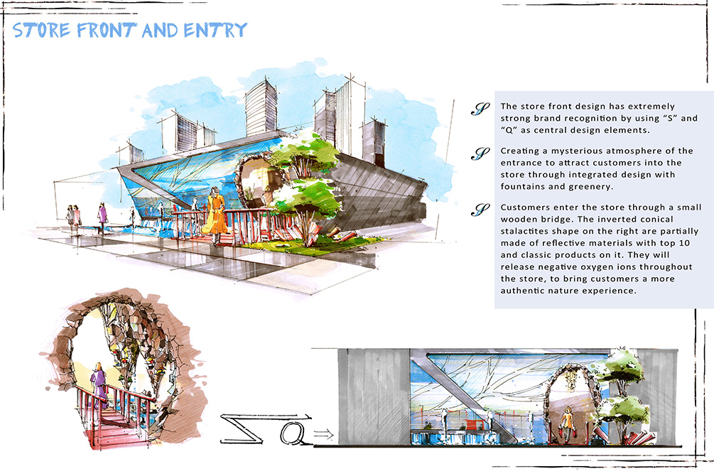Store front and entry illustrations, lsu interior design student work