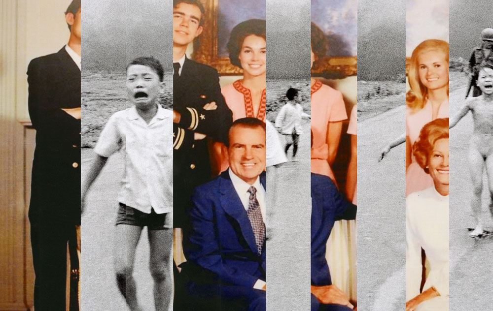 Collage of Nixon family and Vietnam War