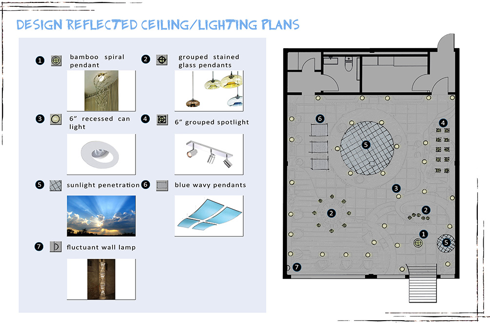 Design reflected ceiling/lighting plans; floorplan and numbered light options; lsu interior design student work