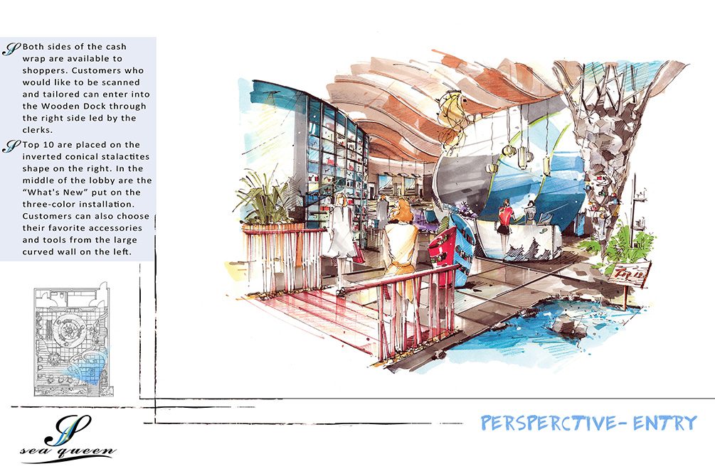 Perspective - entry, with illustration, lsu interior design student work