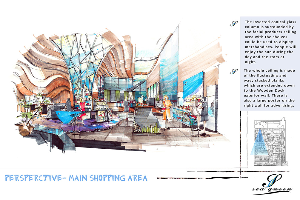 Perspectve - main shopping area, lsu interior design student work