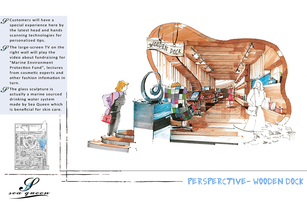Perspective - wooden dock, lsu interior design student work