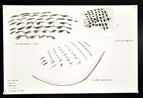 Concept sketches of wave field surface