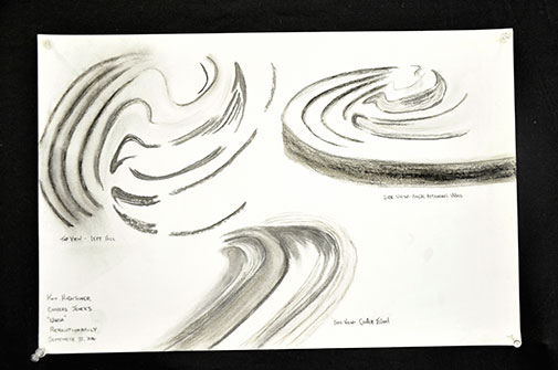 Sketches of spiral surface patterns