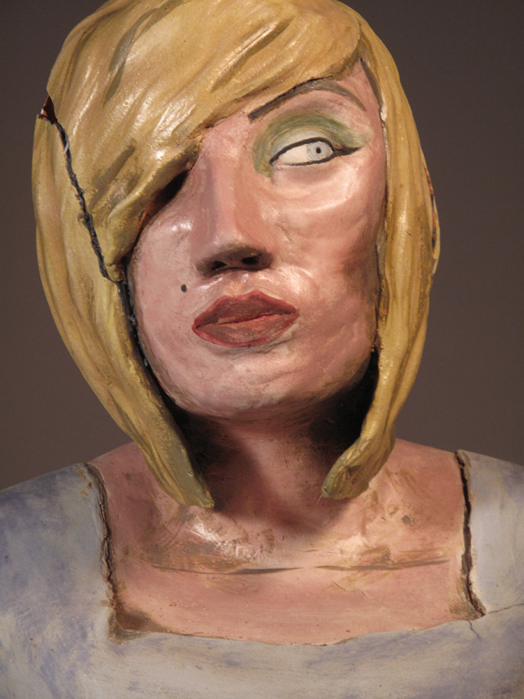 Ceramic sculpture of a woman, LSU BFA Studio Art Ceramics