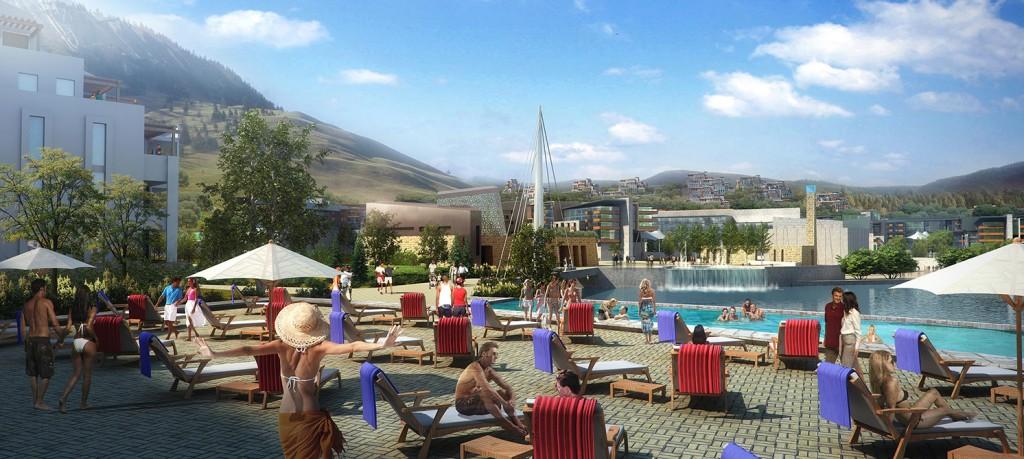 Pool area rendering, lsu landscape architecture alumni work