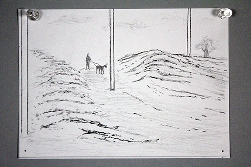 Sketch of man and dog walking on land form