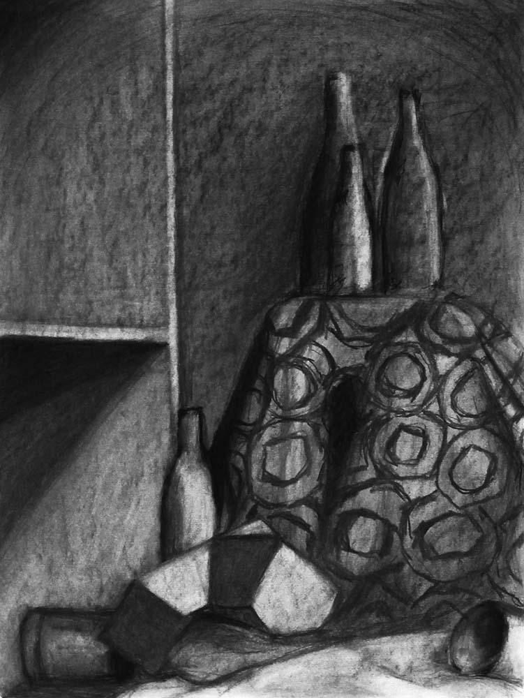 Shaded bottles. BFA Studio Art Foundations