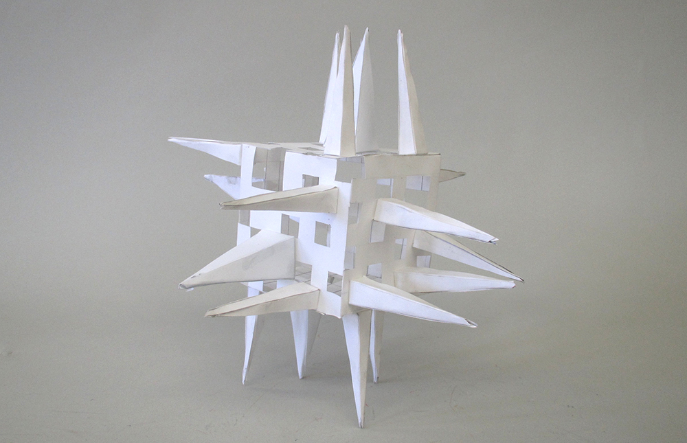 Cube with spikes, paper. LSU BFA Studio Art Foundations