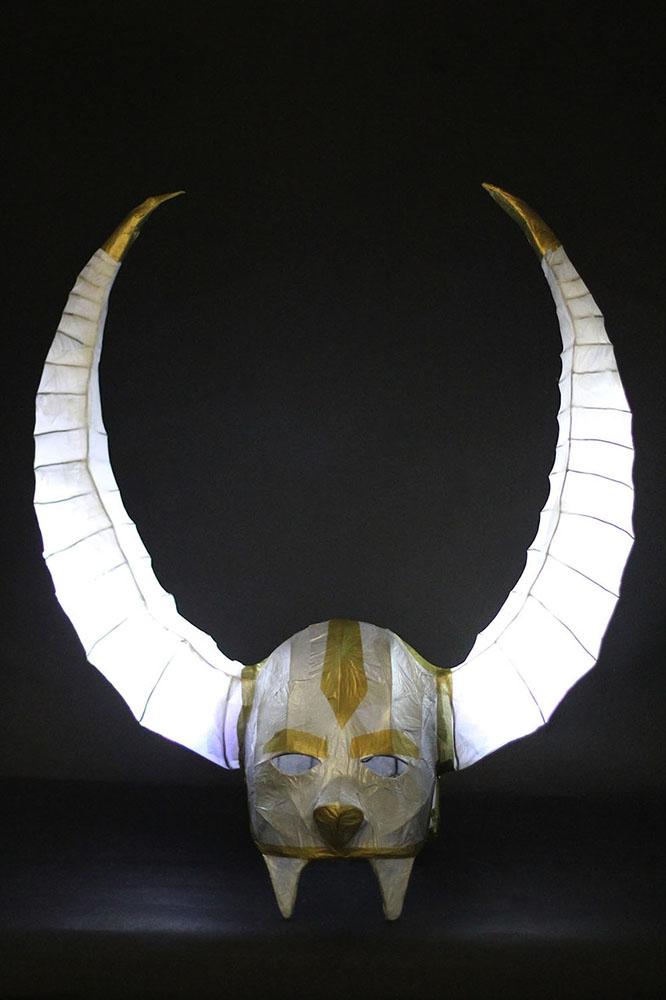 Paper Viking helmet with glowing horns. LSU BFA Studio Art Foundations