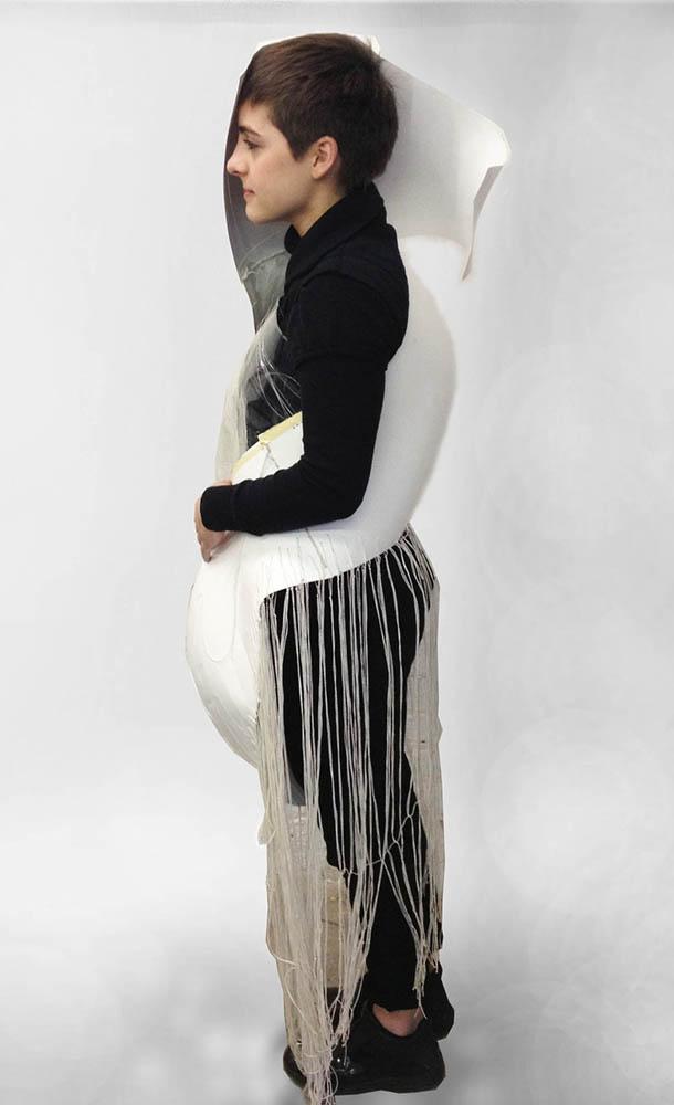 Boy in white paper costume. LSU BFA Studio Art Foundations