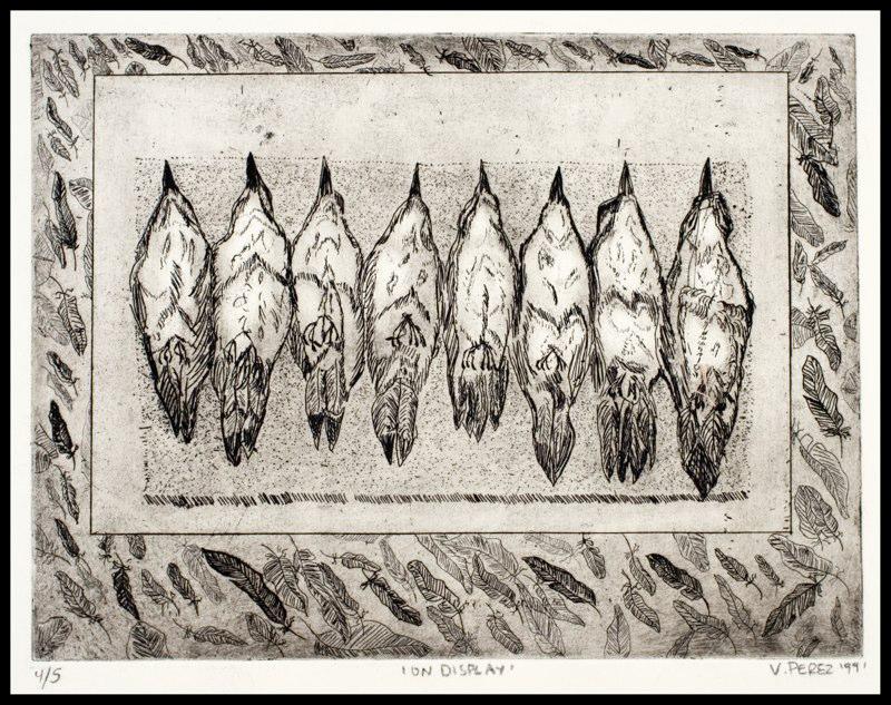 Birds with beaks pointed up, LSU BFA Studio Art Printmaking
