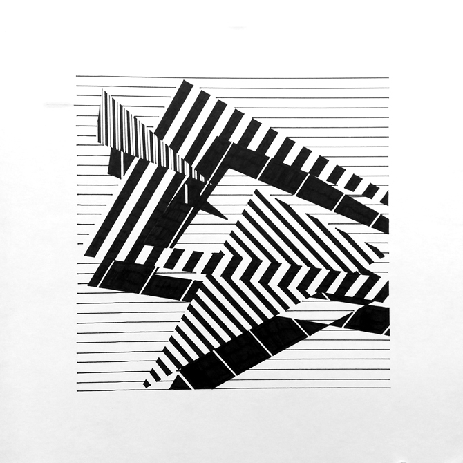 black and white lines in shapes