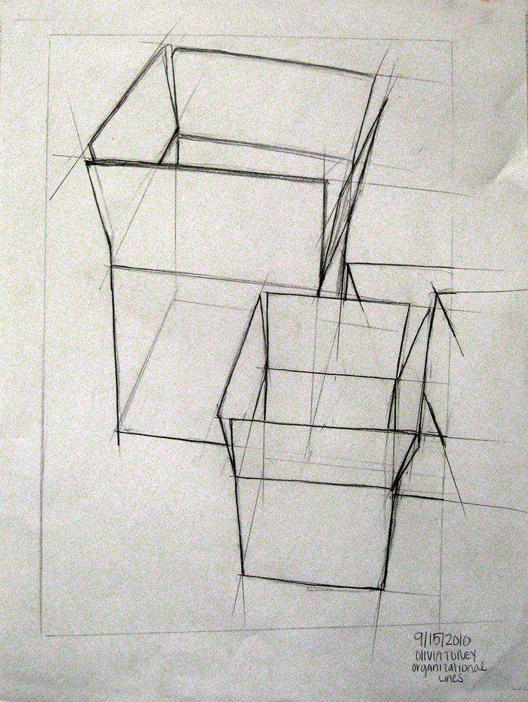 Outline of cardboard boxes. BFA Studio Art Foundations