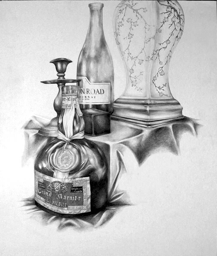 Grand marnier bottle, wine bottle, candlestick, vase. BFA Studio Art Foundations