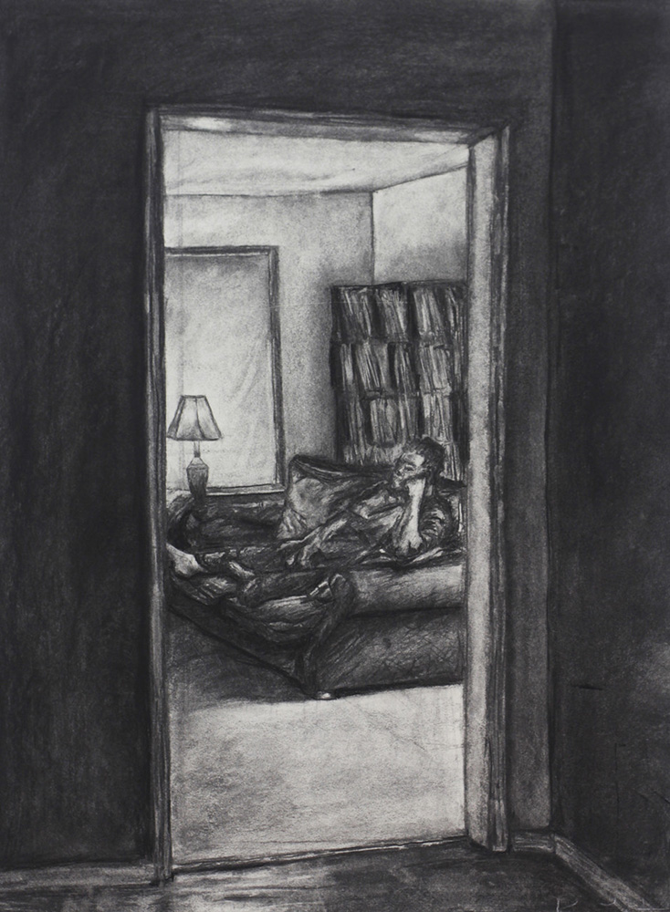 Doorway into room with man on couch, BFA Studio Art Foundations