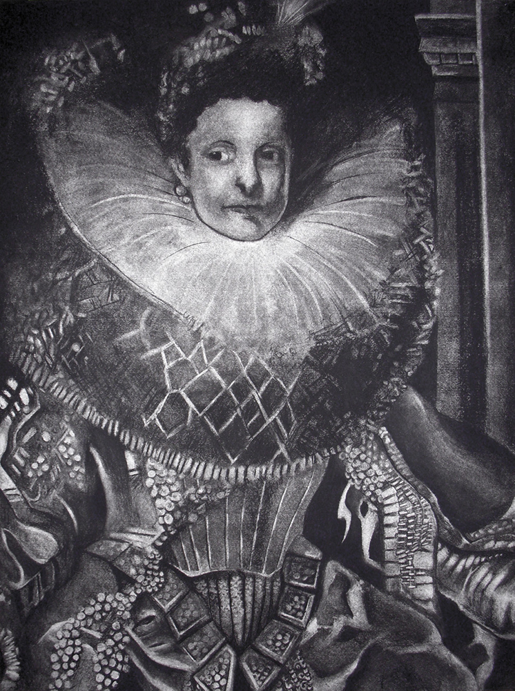 Portrait of Queen Elizabeth in fancy dress. BFA Studio Art Foundations