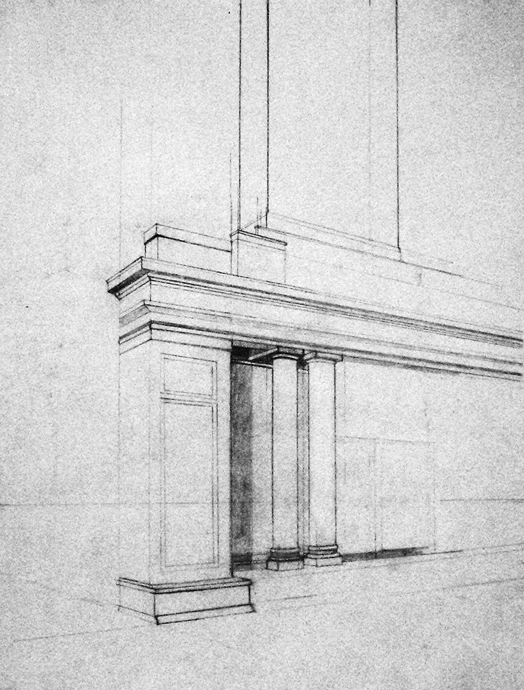 Sketchy of fireplace mantle, columns. BFA Studio Art Foundations