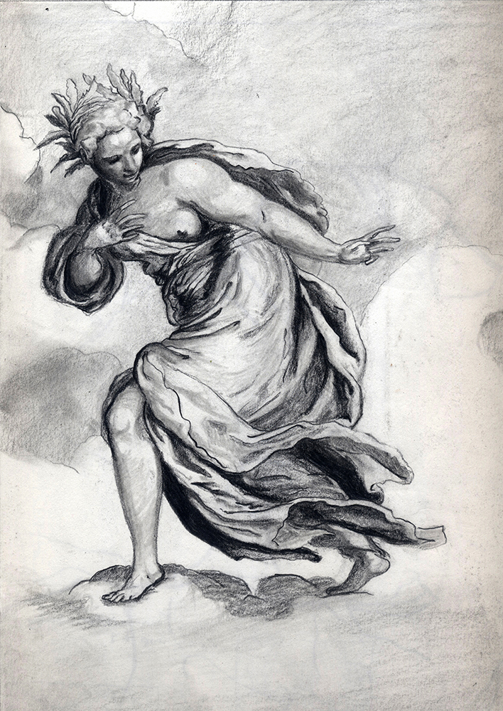 Illustration of woman in robes, evoking classical myth. BFA Studio Art Foundations