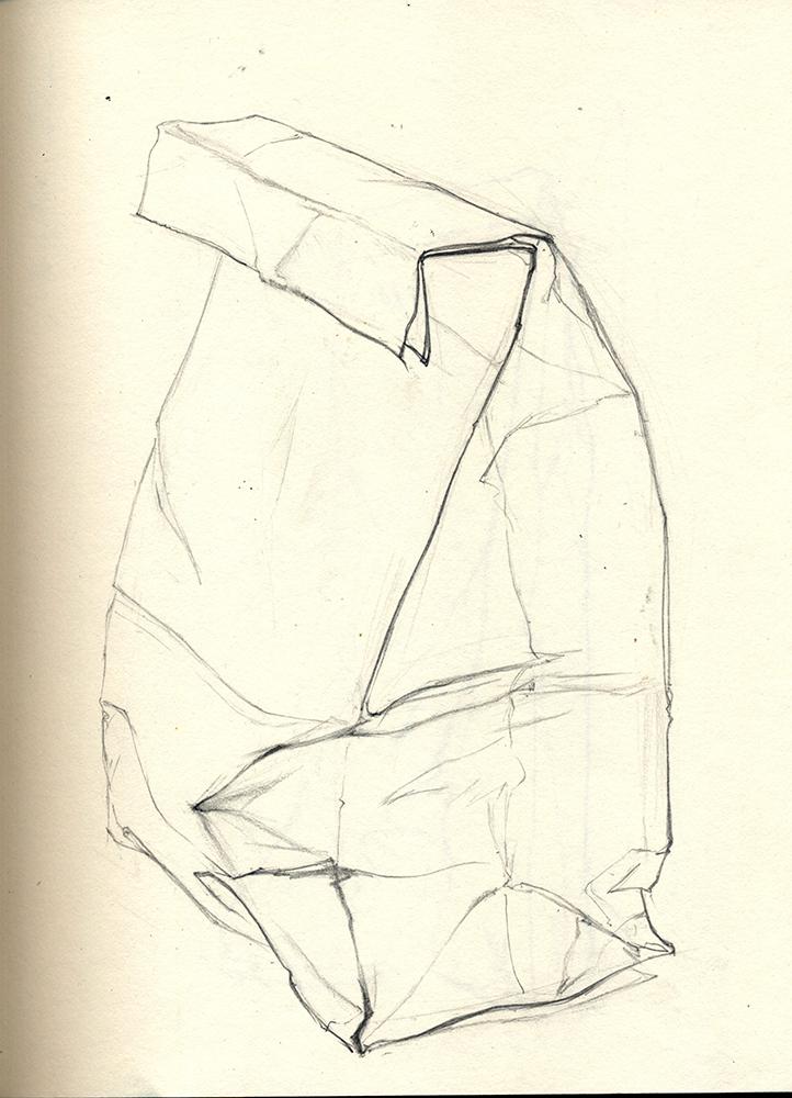 Outline of paper bag. BFA Studio Art Foundations
