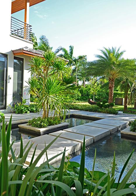 walkway over garden pool