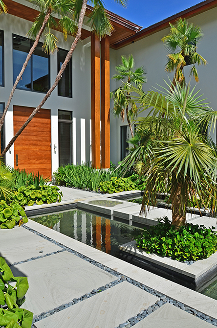 garden with reflecting pool