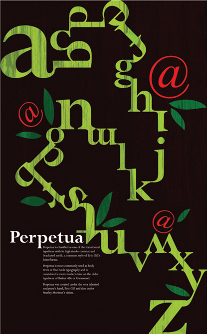 Perpetua type poster design. LSU BFA Studio Art Graphic Design