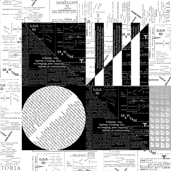 Grid pattern with newsprint in triangles, circle forming squares. LSU BFA Studio Art Graphic Design