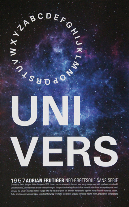 "Poster with text ""uni vers"", galaxy background photography. LSU BFA Studio Art Graphic Design"
