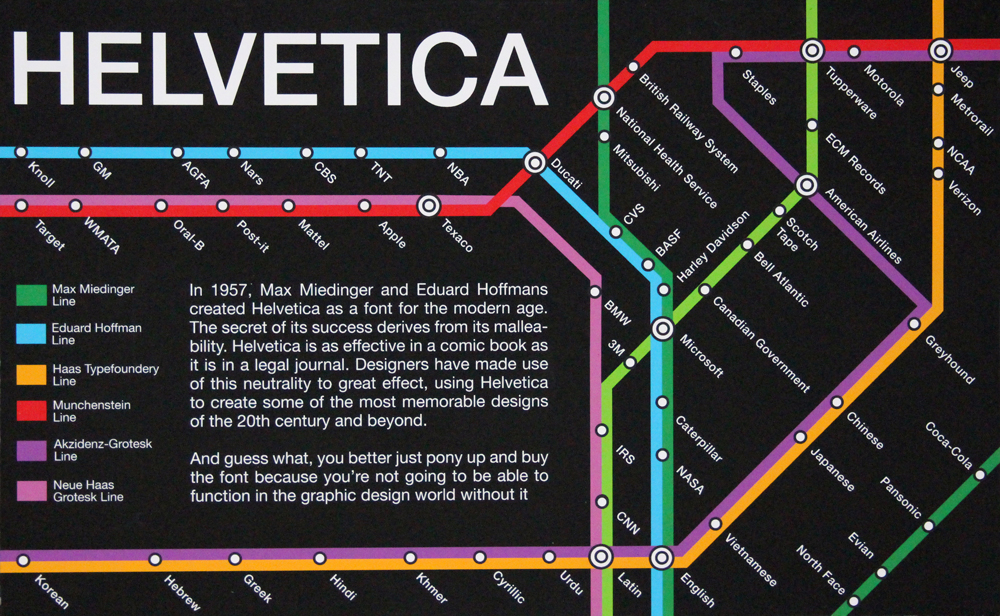 Helvetica title, subway map design with companies and languages at stops. LSU BFA Studio Art Graphic Design