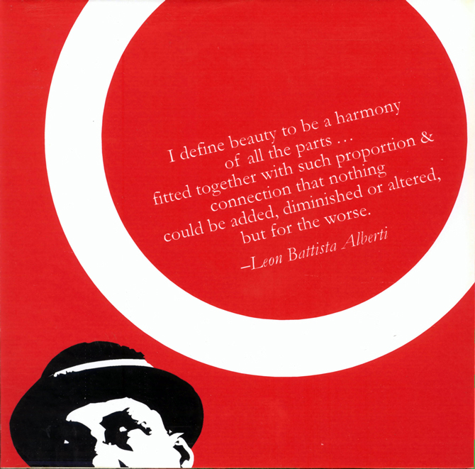 "Red background, black and white man's head. Text quote: I define beauty to be a harmony of all the parts ... fitted together with such proportion & connection that nothing could be added, diminished or altered, but for the worse. - Leon Battista Alberti"" LSU BFA Studio Art Graphic Design"