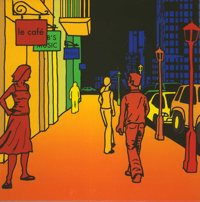 "Cartoon of street scene with yellow and green buildings, blue skyscrapers, red and yellow pedestrians, red lamppost, orange sidewalk. Shop sign reads ""le cafe."" LSU BFA Studio Art Graphic Design"