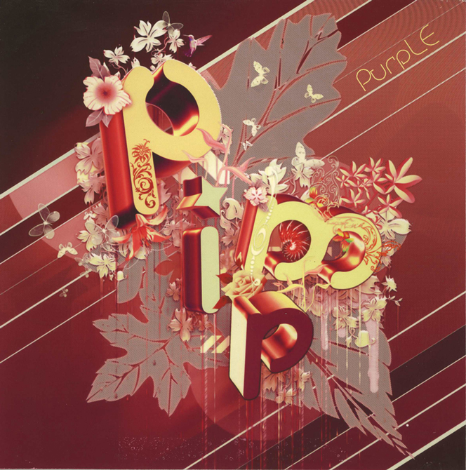 "Stylized text ""pimp"" with floral red background. LSU BFA Studio Art Graphic Design"