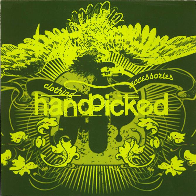 Text: handpicked clothing accessories. Background green leafy design. LSU BFA Studio Art Graphic Design