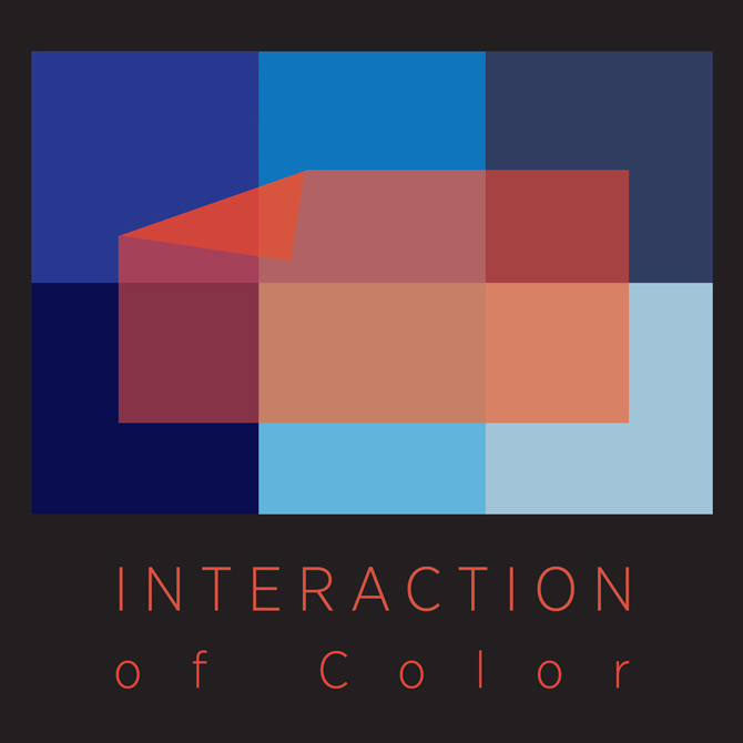 Interaction of color, geometric blue and red squares. LSU BFA Studio Art Graphic Design