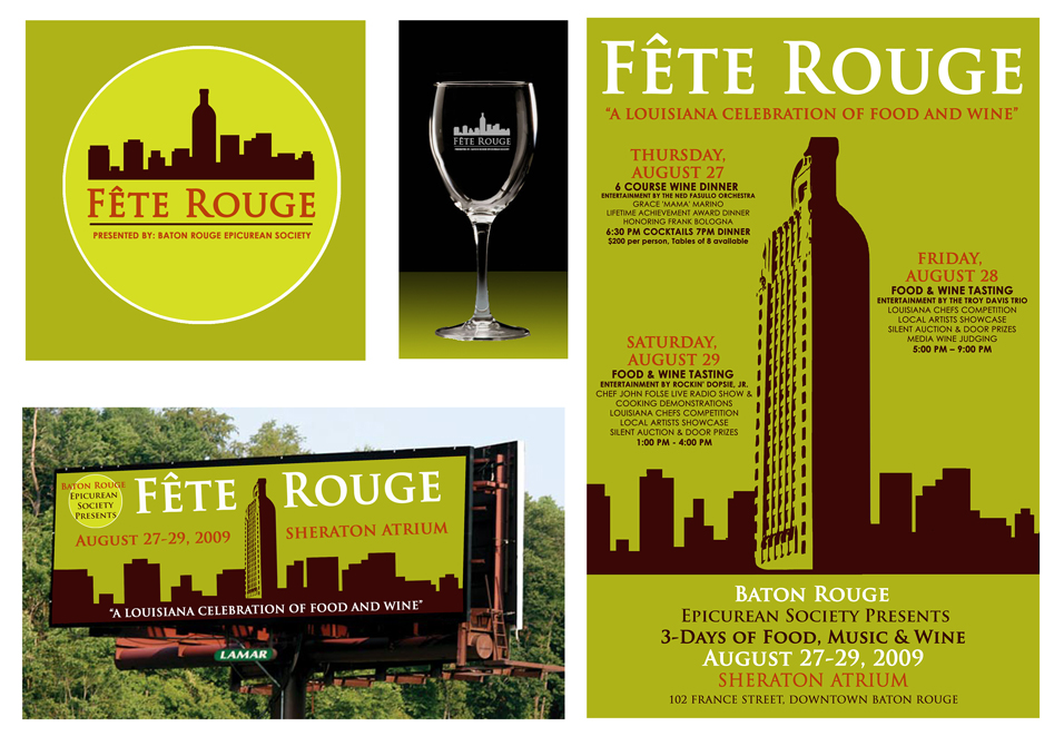 Fete Rouge brand design with pea green, Baton Rouge iconography. LSU BFA Studio Art Graphic Design