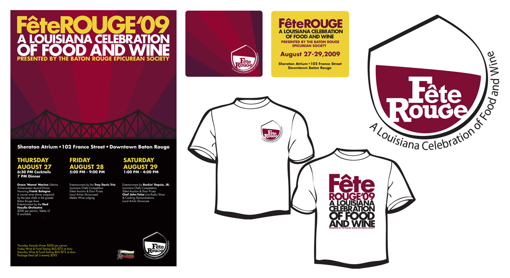 Fete Rouge brand design with poster, logo, t-shirts. LSU BFA Studio Art Graphic Design
