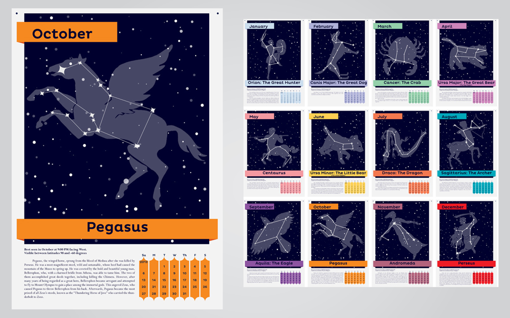 Constellation calendar. LSU BFA Studio Art Graphic Design