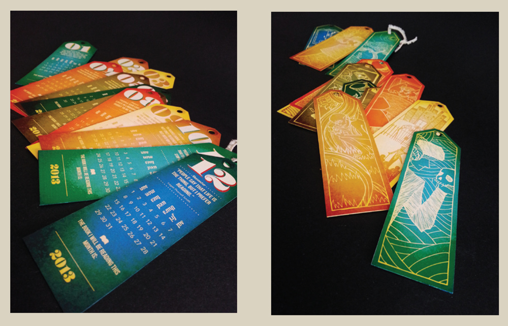 Bookmark-calendars in different colors. LSU BFA Studio Art Graphic Design