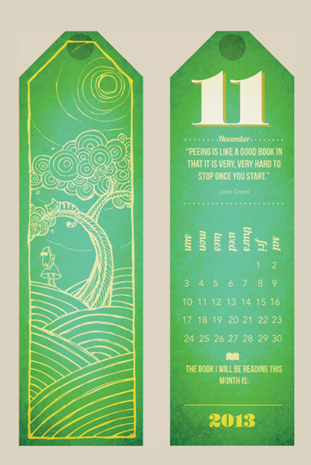 Green bookmark design. LSU BFA Studio Art Graphic Design