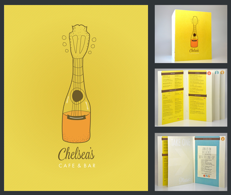 Menu design for Chelsea's cafe & bar, yellow background with guitar/wine bottle graphic on cover. LSU BFA Studio Art Graphic Design